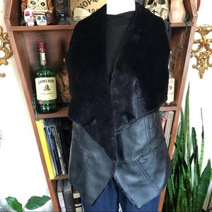Blank NYC Black Fur and Leather Vest
